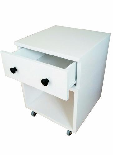 mesa del luz laqueado blanco semi mate c/ruedas!!!