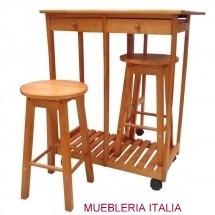 Mesa desayunador de cocina con 2 taburetes mesa auxiliar - Mesa cocina con taburetes ...