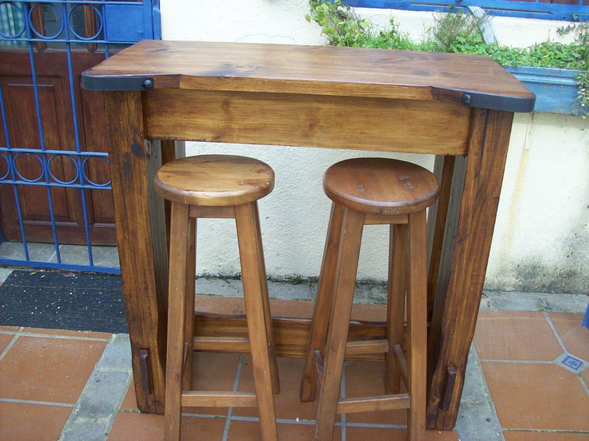 Mesa desayunador madera maciza rustico c apliques hierro - Muebles cocina rusticos madera ...