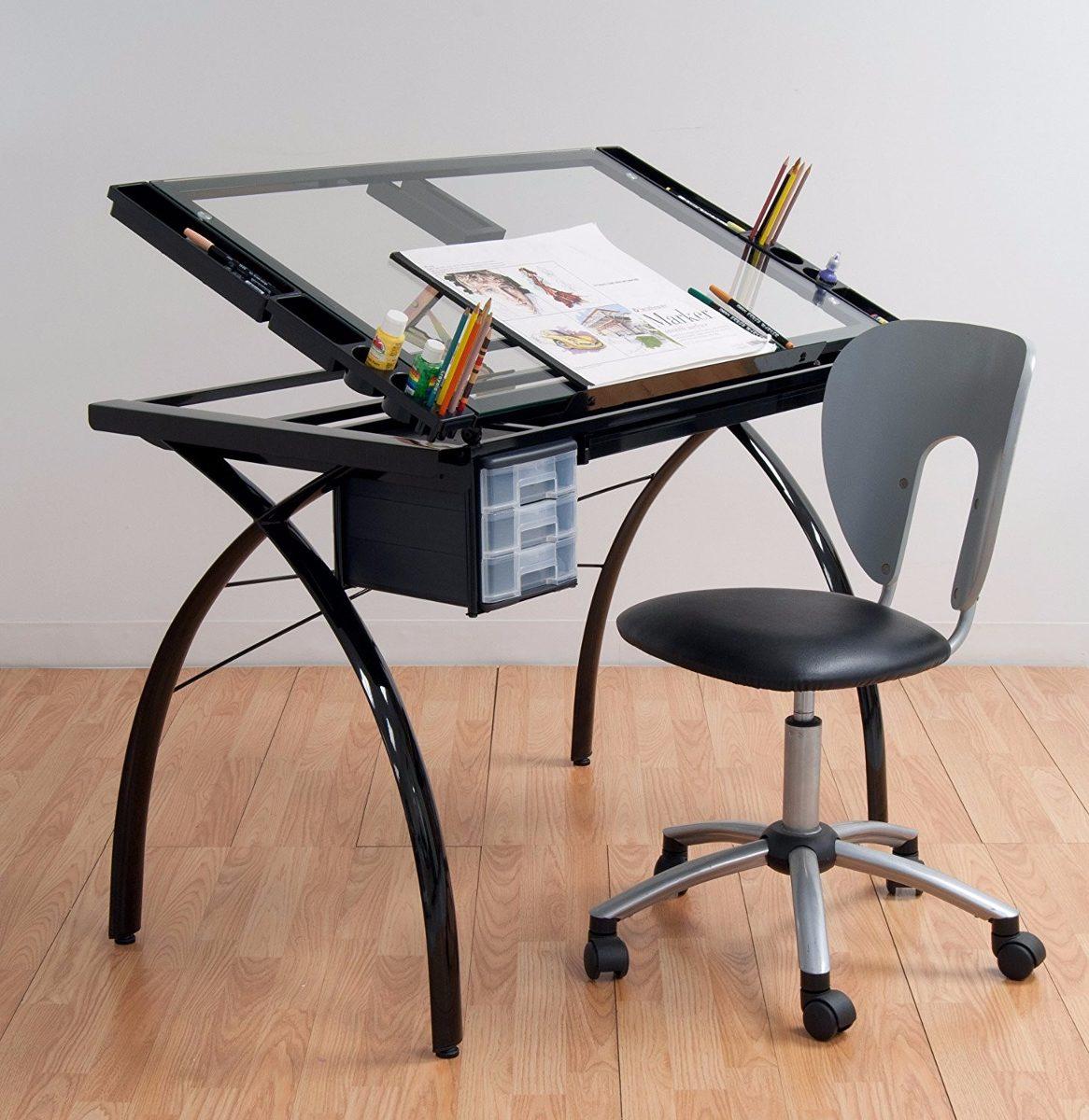 Mesa dibujo escritorio cristal templado restirador negro for Mesa oficina cristal templado