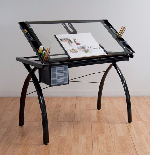 mesa dibujo escritorio cristal templado restirador negro