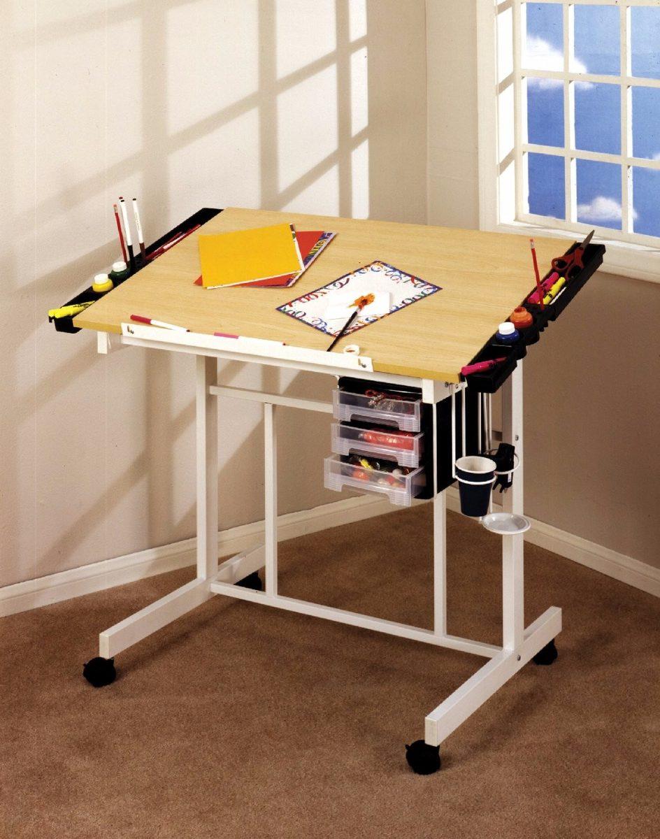 Mesa dibujo restirador ajustable madera arce blanco for Mesa de dibujo con luz