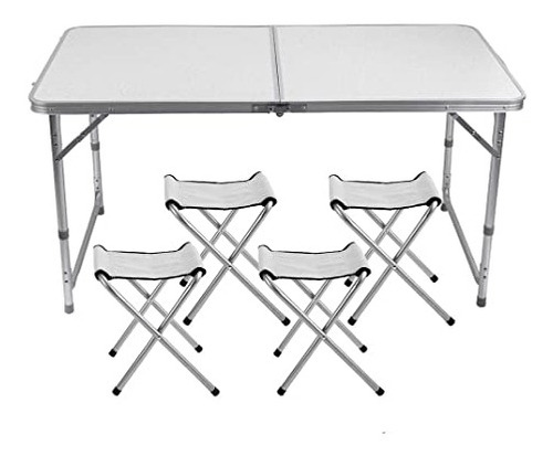 mesa dobravel 4 cadeiras ajustavel vira maleta camping praia