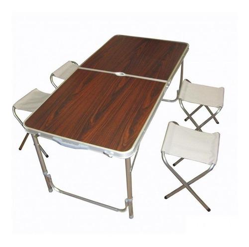 mesa dobravel aluminio 4 cadeira grande 120x60cm vira maleta