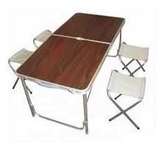 mesa dobravel aluminio vira maleta camping praia 4 bancos