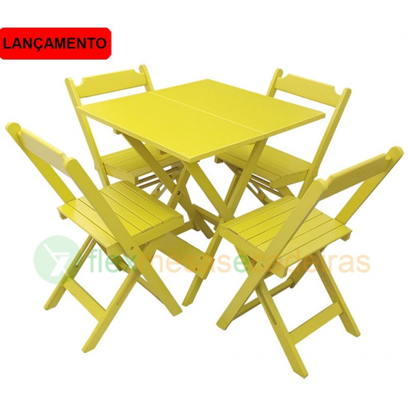 Armario Lavadora Exterior ~ Mesa Dobravel Madeira Com 4 Cadeiras Entrega Somente Rj! R$ 400,00 em Mercado Livre