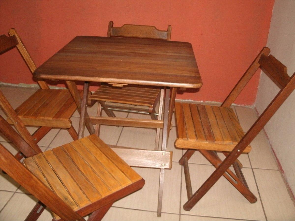 Mesa dobr vel quadrada c 4 cadeiras madeira maci a for Se vende muebles usados
