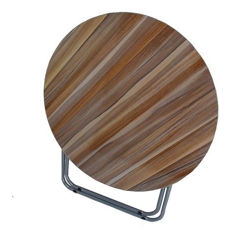 mesa dobravel redonda 90cm portatil com armação em aço casa