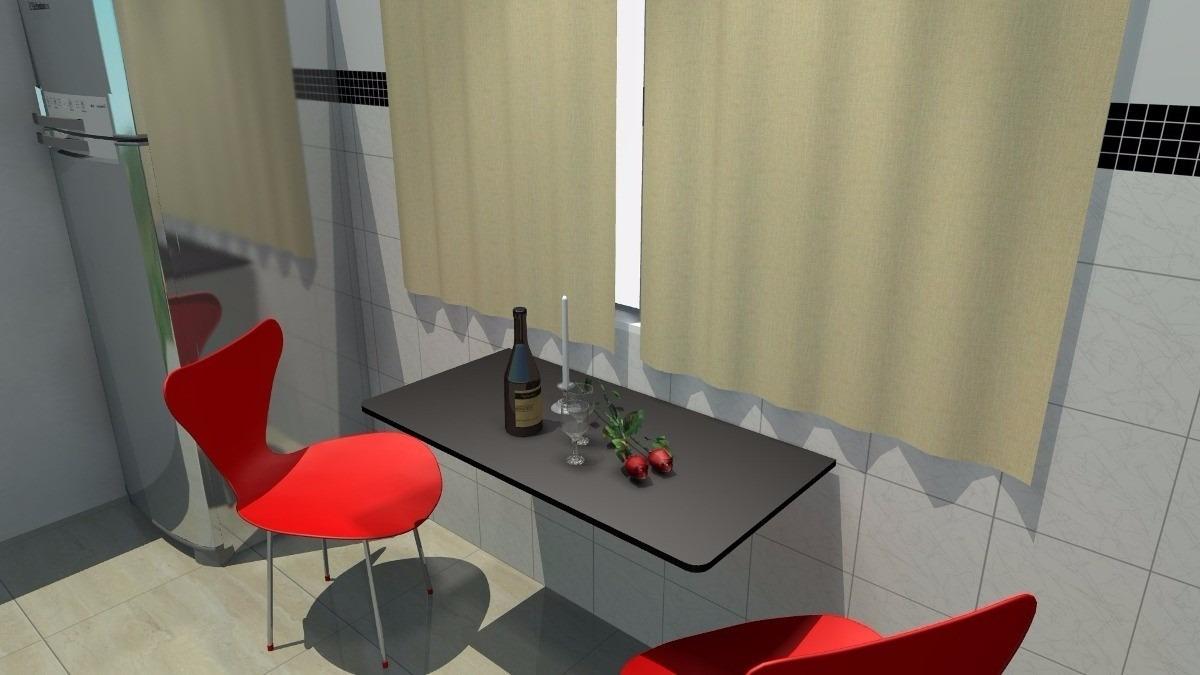 Mesa Dobrável Retrátil Parede Cozinha Ou Notebook Preta  R$ 128,00 em Mercad # Bancada Cozinha Retratil