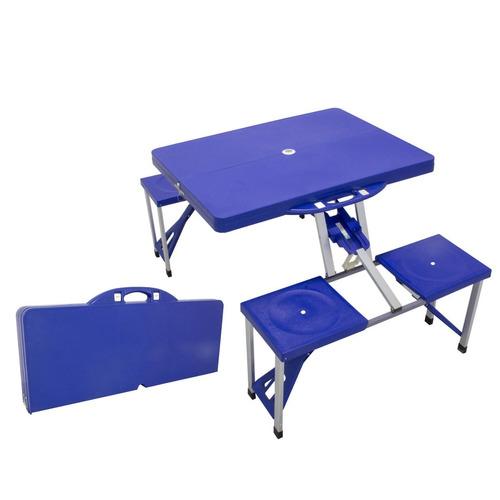 mesa dobravel vira maleta 4 bancos camping praia portatil lu