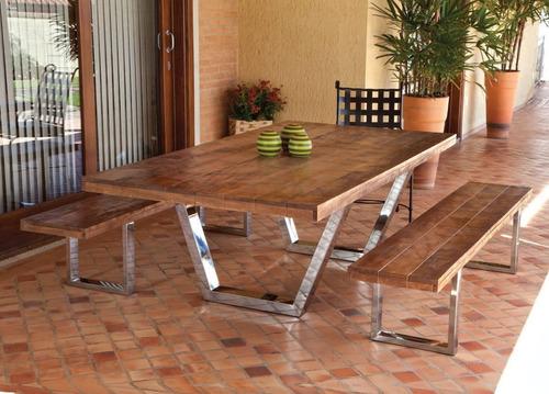 mesa e bancos de madeira demolição e inox - 2,40m