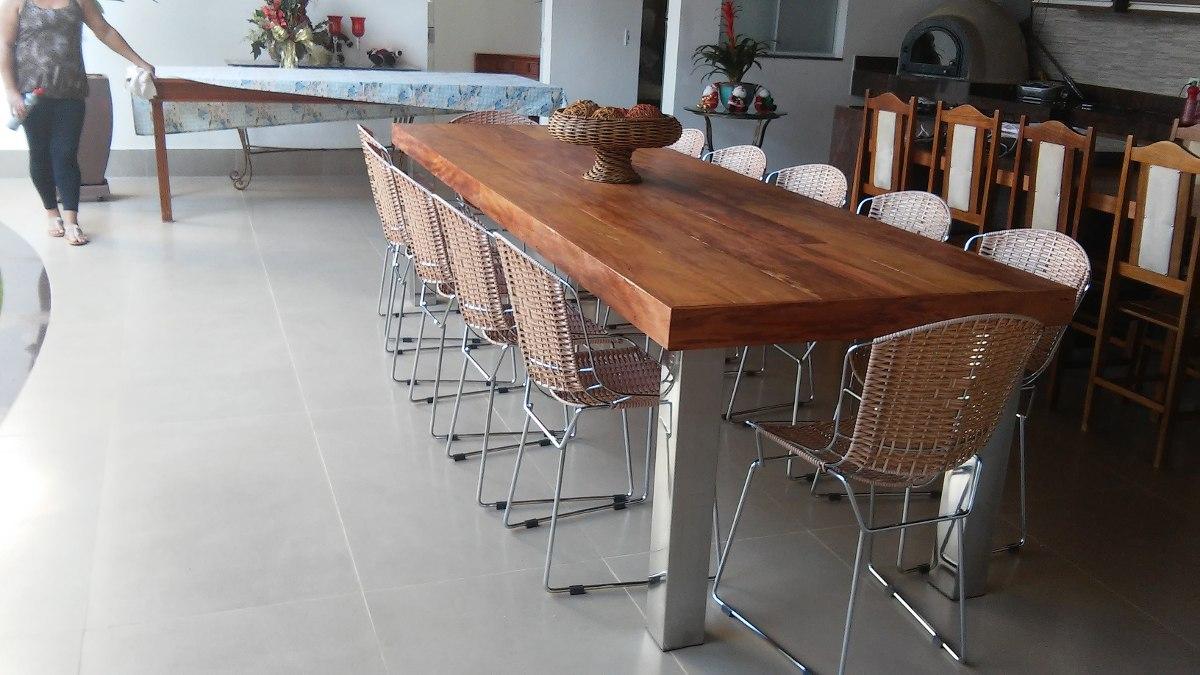mesa e bancos de madeira demoli231227o e inox varias medidas