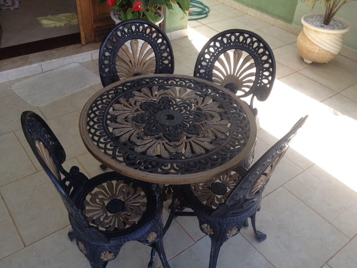 Mesa E Cadeira De Jardim Ferro Fundido Preto E Dourado - R ...