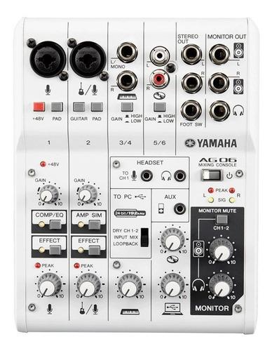 mesa e interface de áudio usb yamaha ag06 com 6 canais