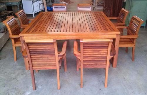 mesa e poltronas sob encomenda - madeira de demolição