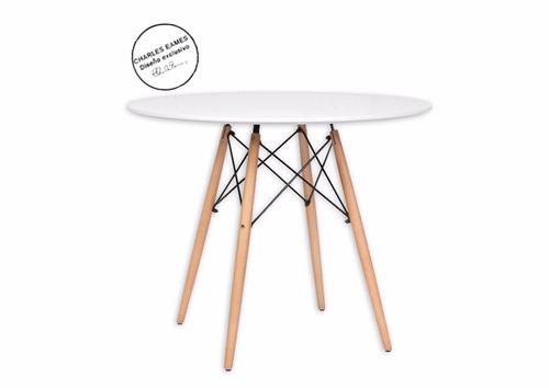 mesa eames 1.10 redonda  madera+ 4 sillas eames