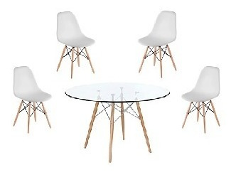 mesa eames 120 cm diametro - tapa vidrio + 4 sillas eames