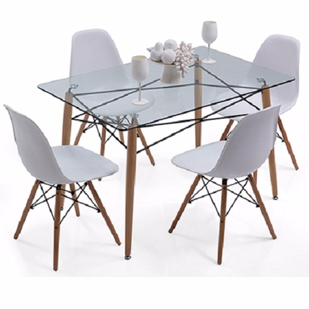 mesa eames comedor de vidrio x sillas eames blancas