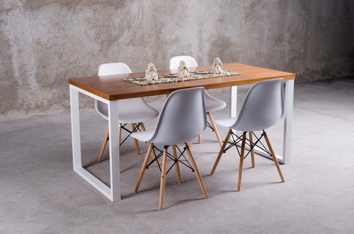 mesa eames cuadrada + 4 sillas eames blancas