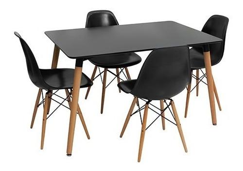 mesa eames rectangular con patas de madera. diseño