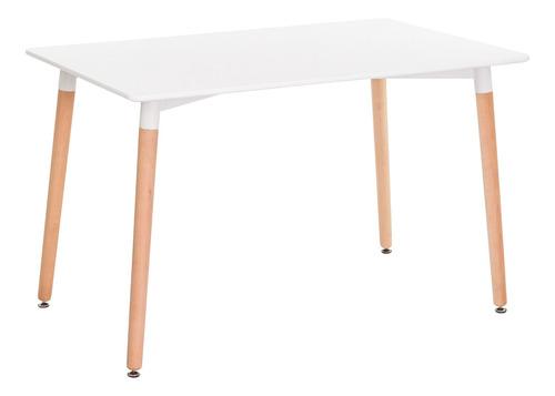 mesa eames retangular branca base madeira