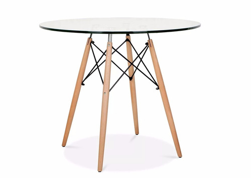 mesa eames vidrio  redonda patas de madera 120cm