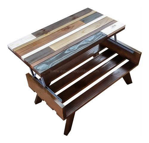 mesa elevable madera y laca 1x50 diseño palet equilibra deco