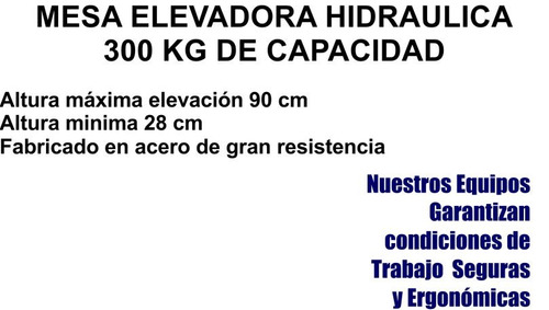 mesa elevadora hidraulica tipo tijeral nueva en liquidacion