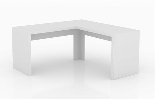 mesa em forma l de canto simples grande branco clinica me16