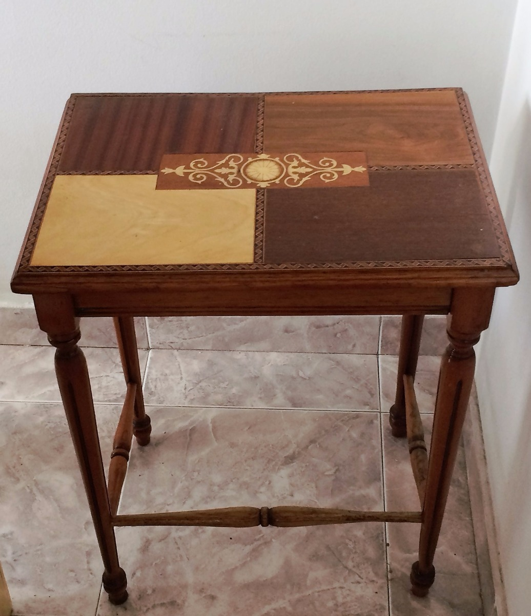 Mesa En Madera Incrustaciones De Taracea 100 000 En Mercado Libre # Muebles Taracea