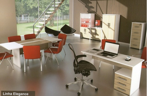 mesa escritório 3 gavetas elegance 120cm - regiani móveis