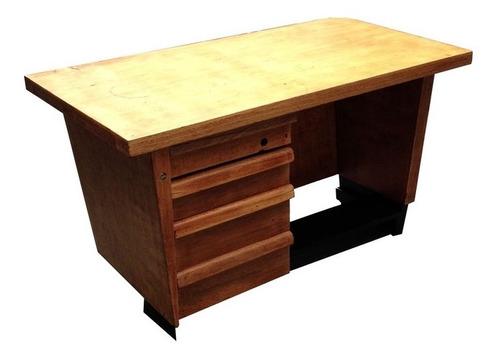 mesa escritório antiga madeira 4 gavetas restaurada