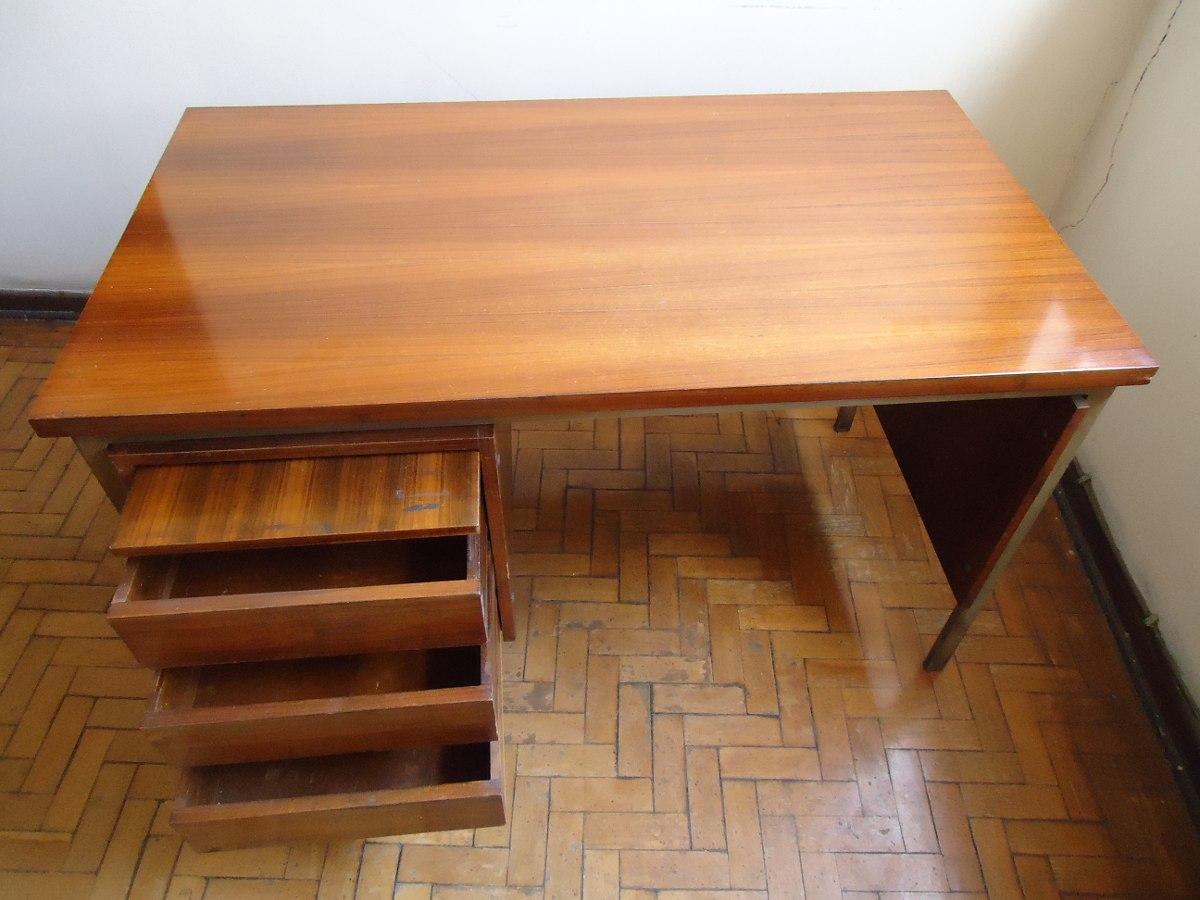 Mesa escrit rio antiga madeira anos 1970 favor ler anuncio for Mesas de escritorio zaragoza
