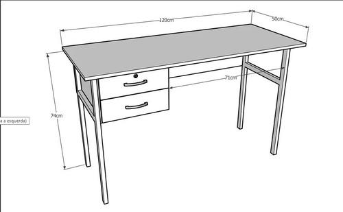 mesa escritório com gavetas escrivaninha - frete grátis