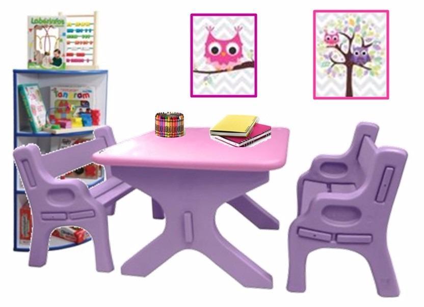 Mesa escritorio con 2 bancas para ni os basa s 159 99 - Mesas escritorio para ninos ...