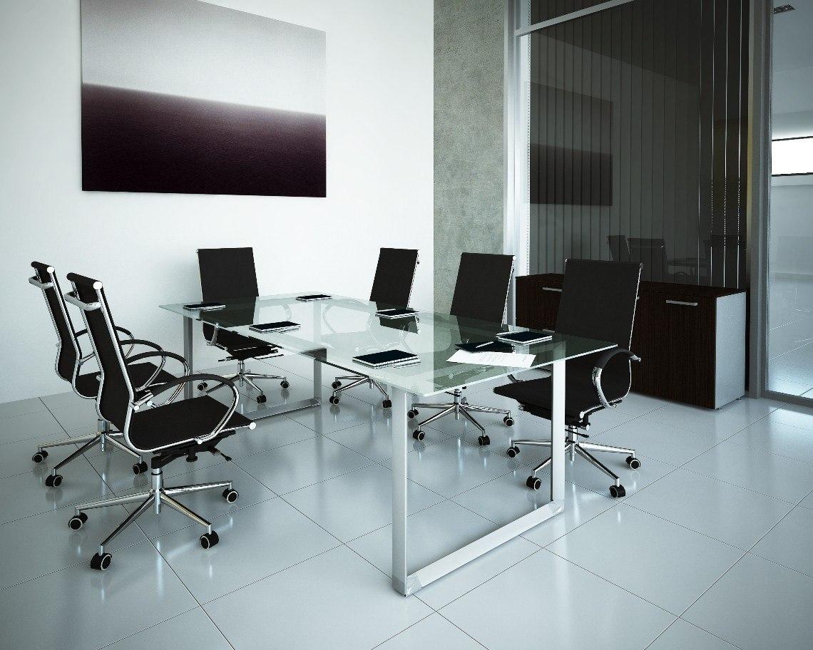 Mesa escritorio de pata cuadrada met lica lbf 2 - Mesas escritorio de cristal ...