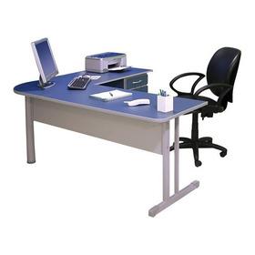 Mesa Escritório Em L Cinza/azul 120x150x60