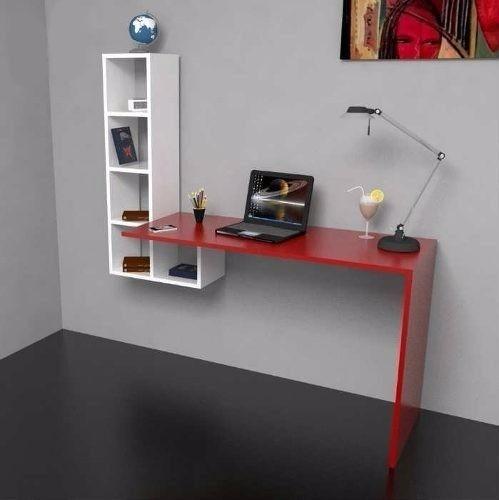 Mesa escritorio minimalista repisa moderno mdf mueble bs for Mueble de 5 repisas