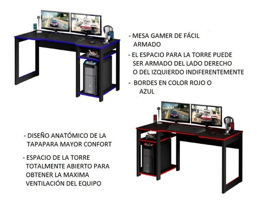 mesa escritorio para pc gamer 136 cm largo 4152