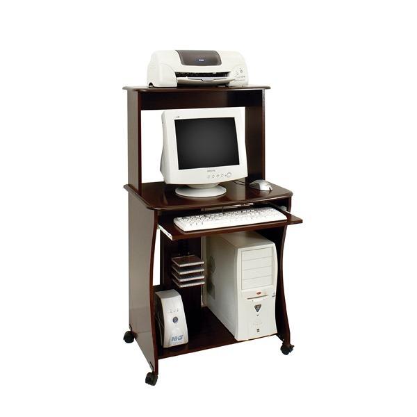 Mesa escritorio p pc c ruedas 100 mdp porta teclado tabaco - Mesa escritorio con ruedas ...