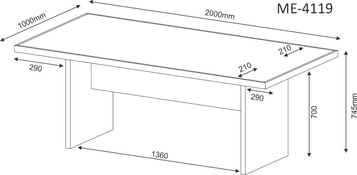 Mesa escrit rio reuni o 2 metros am ndoa tecno mobili r for Mesa 2 metros comensales