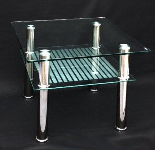 mesa esquinera de acero inoxidable con vidrio o madera