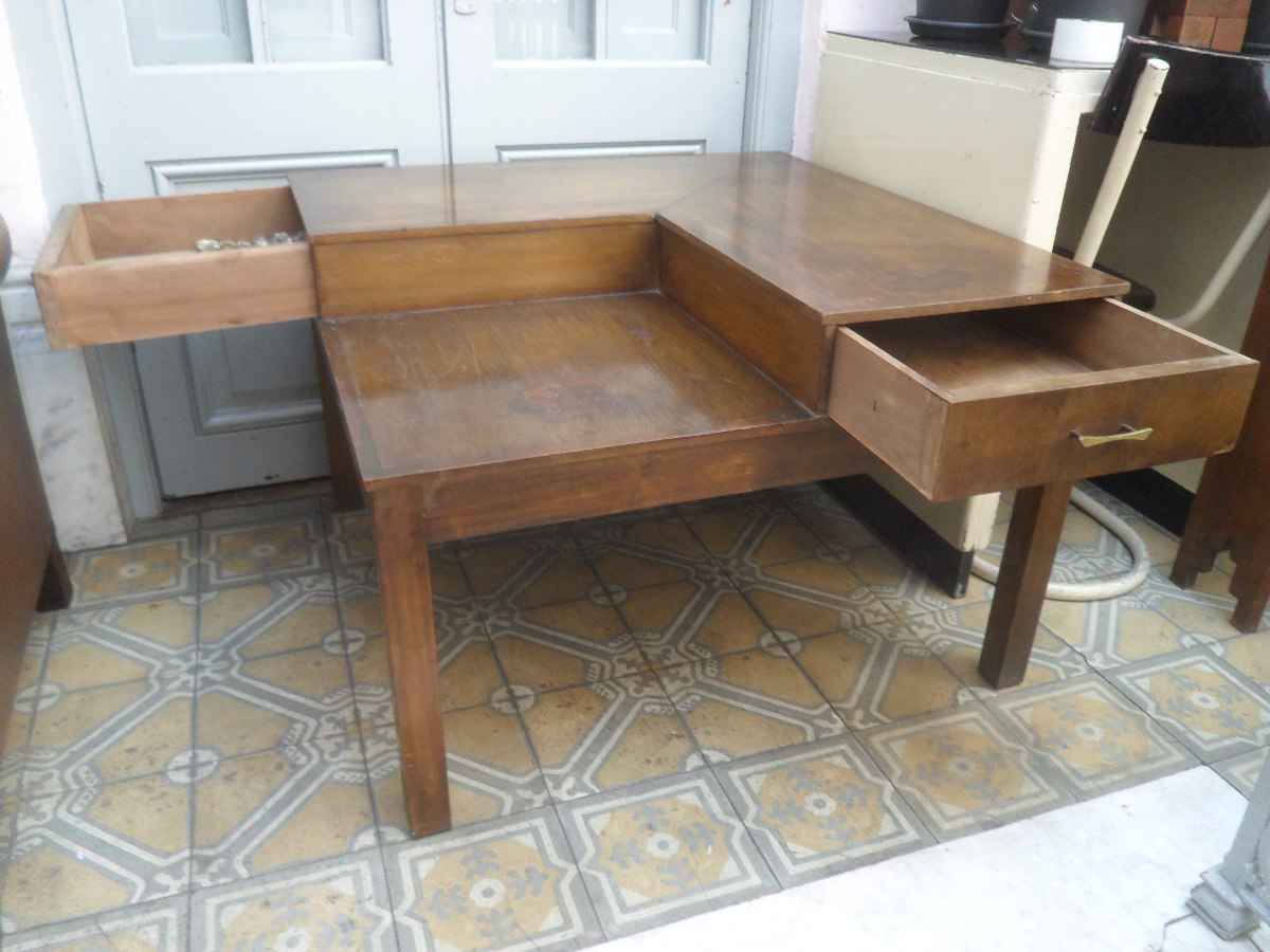 Mesa esquinero americana de madera con cajones - Mesas con cajones ...