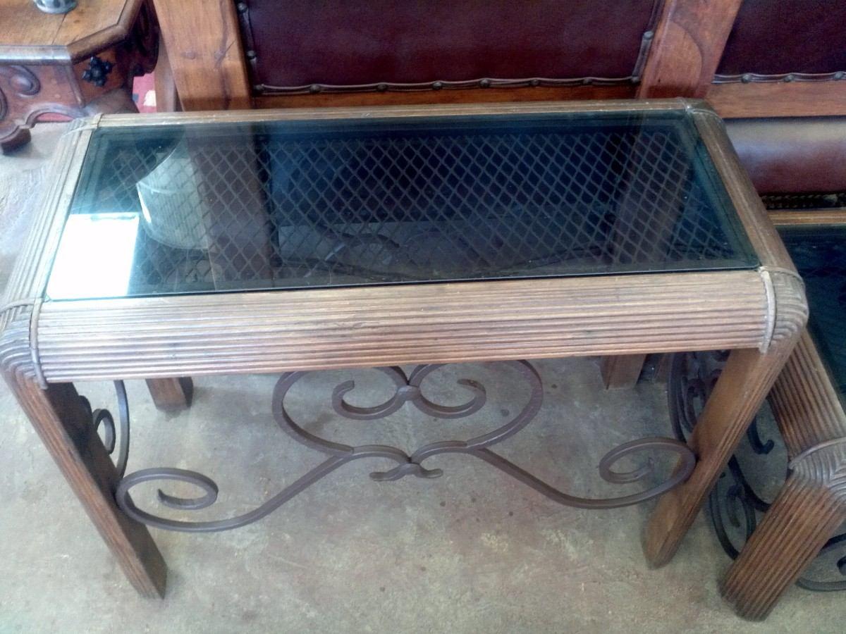 Mesa estilo antigua de madera con forja envio gratis for Mesas antiguas de madera