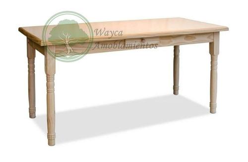 mesa estilo campo 1,35x1,35 pata troneada 4x4