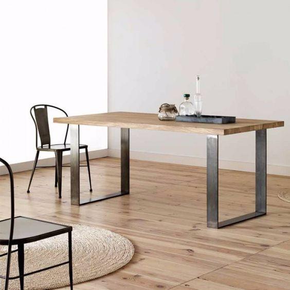 mesa estilo industrial hierro y madera muebles leblock - Muebles Estilo Industrial