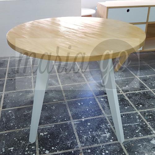 mesa estilo nordico escandinavo  redonda 100 cm diametro