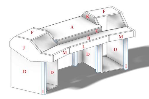 mesa estudio grabacion diseño construccion audio rack