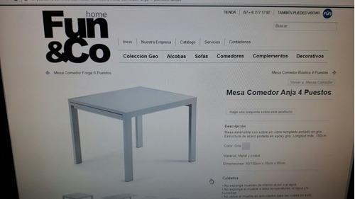 mesa expandible metalica con vidrio de 4 a 6 puestos