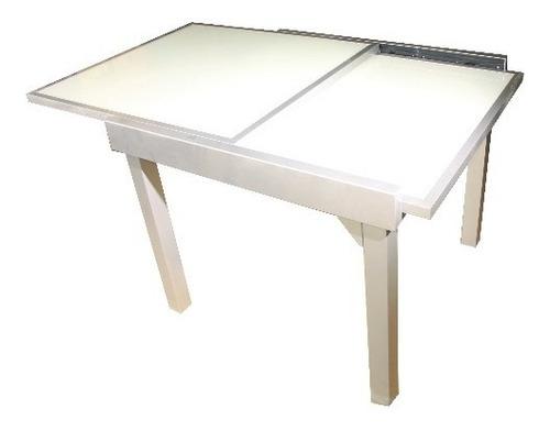 mesa extensible 0.90 a 1.80 x 0.90m aluminio / vidrio blanco